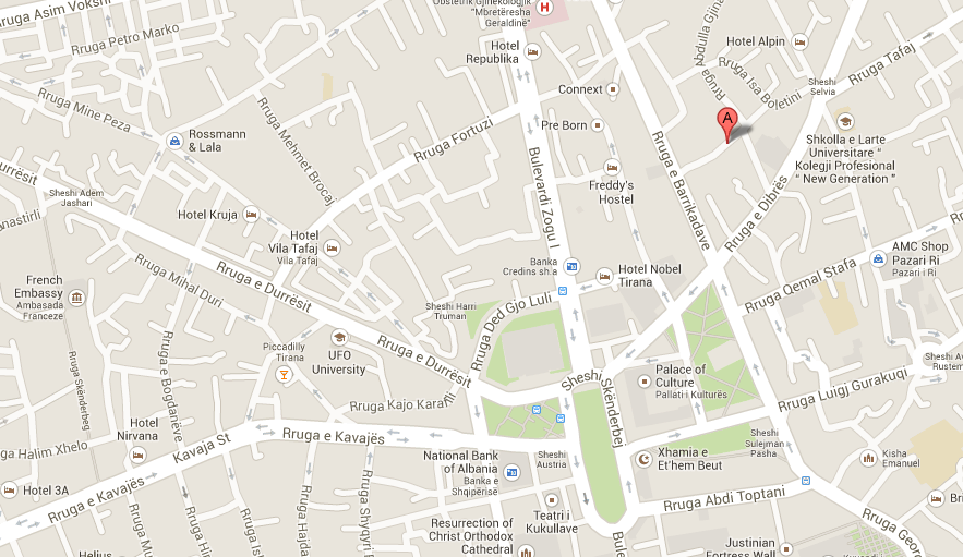 Map to the Ferrari Building in Tirana