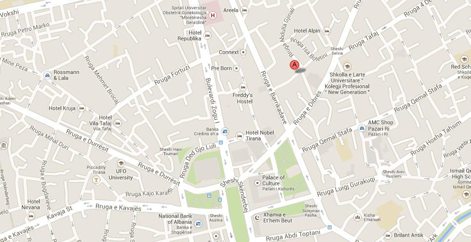 Map showing Tirana Patio B&B