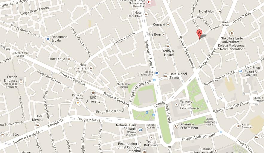 Map to the Ferrari Building in Tirana